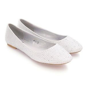 Unforgettable Moments Bridal Shoes White Flats 9